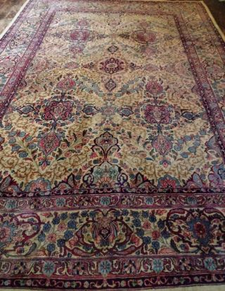 EXTRA LARGE Vintage Handknotted Floral PERSIAN Wool Rug 12x9ft Oriental Keshan 4