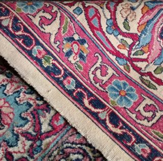 EXTRA LARGE Vintage Handknotted Floral PERSIAN Wool Rug 12x9ft Oriental Keshan 9