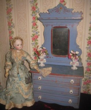 Charming Rare C.  1881 Antique Miniature Eastlake Painted Cottage Doll Dresser