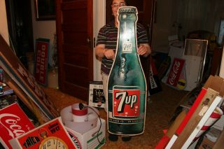 "Large Vintage 1963 7up 7 Up Soda Pop Bottle Gas Station 44 "" Metal Sign"