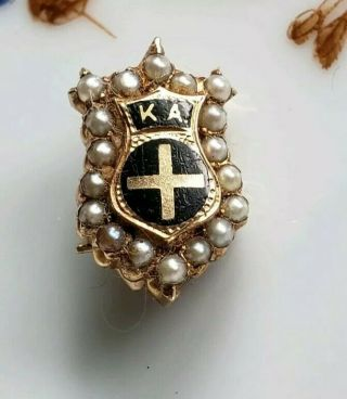 Antique Kappa Alpha Fraternity Pin - Gold W 18 Seed Pearls.