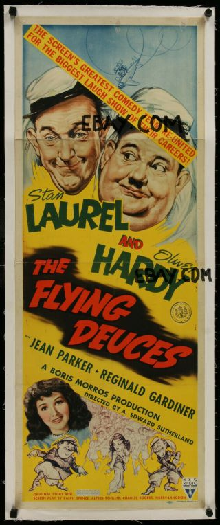 Flying Deuces Linen Insert 1939 Great Artwork Laurel & Hardy,  Ultra Rare Poster