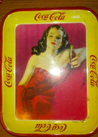Rare 1940s Coca Cola Mexican Woman Red Dress RisquÉ Tray.  Very Hard To Find.