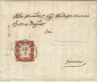 Lombardy Italy Rare Soresina Cds Cover 1859 Certificate Cat 16200
