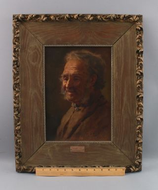 C1900 Antique Lawrence Earle Artist Self Portrait Oil Painting,