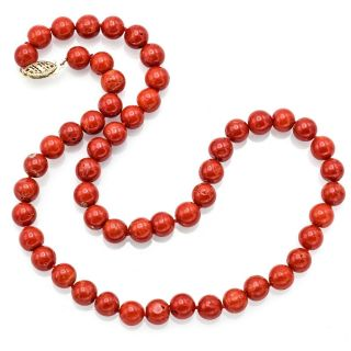 Vintage 14k Yellow Gold Red Coral Beaded Strand Necklace 34.  4 Grams 17 Inches