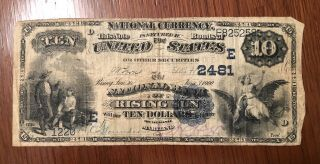 Rare 1900 1908 $10 Us Ten Dollar Bill Rising Sun Md Maryland Intact