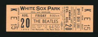 Beatles Vintage 1965 Chicago White Sox Park Full Ticket Near