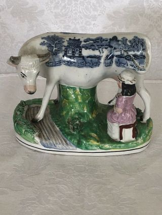 Gorgeous And Rare Blue Willow Cow With Milking Maid Awesome