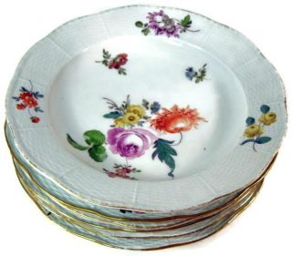 "Antique Meissen Floral Relief Edge 9 1/2 "" Dinner Plate Set Of Six"