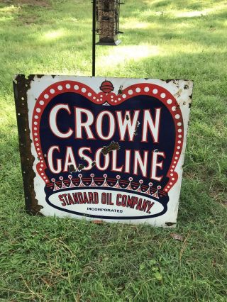 Rare Vintage Red Crown Gasoline Porcelain Double Sided Sign