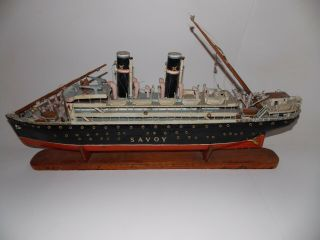 """Antique Hand Crafted Model Steam Ship """" The Savoy """" With A Stand - 32 """" Long"""