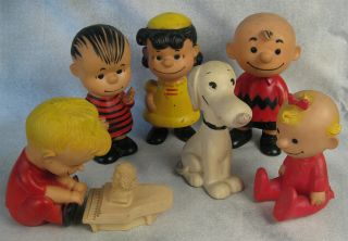 Vintage Peanuts Hungerford Vinyl Doll Set Piano Snoopy Linus Lucy Sally Brown