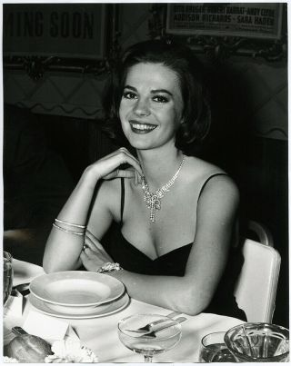 Vintage 1960s Large Format Posed Candid Natalie Wood Dinner Party Photograph