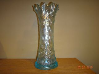 Rare Northwood Mid Size Ice Blue Carnival Glass Tree Trunk Vase Plain Base