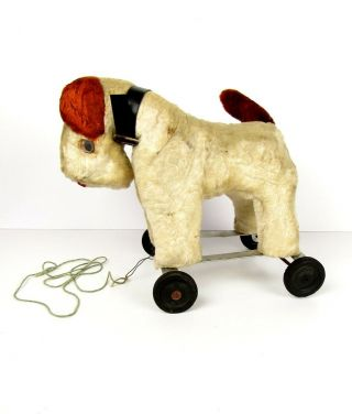 Vintage Plush Wire Hair Fox Terrier Dog Antique Pull Toy On Wheels