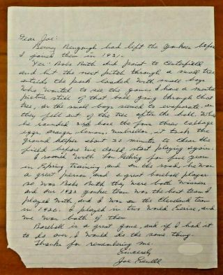 Rare Babe Ruth Called Shot 1932 Hand Written Letter By Joe Sewell With Jsa