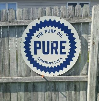 """The Pure Oil Company 30 """" Dsp Porcelain Sign 2 - Sided Gas Station Oil Vintage"""