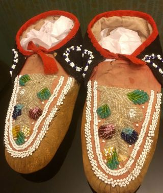 Antique 1910 Native American Iroquois Mohawk Indian Beaded Mens Moccasins 10""