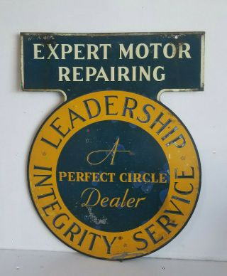 Vintage Sign A Perfect Circle Expert Motor Repair Gas Oil Auto Service Station