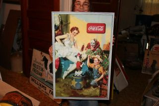 "Rare Vintage 1936 Coca Cola Soda Pop Gas Oil 27 "" Sign W/clown"