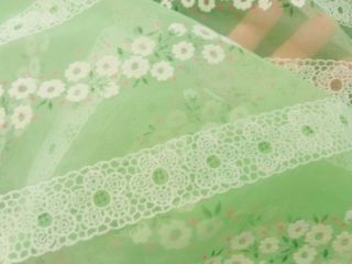 """Vintage Pale Green Floral Sheer Flowers Garland Flocked Fabric 5 Yds X 48 """" W"""