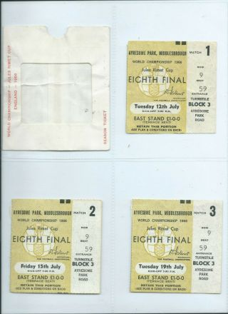 Rare Set World Cup July 1966 Ayresome Pk Middlesbrough England 3 Tickets,  Wallet