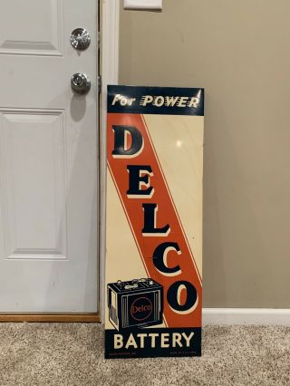 Vintage 1940s Vertical Delco Batteries Metal Sign 35 X 12 Rare