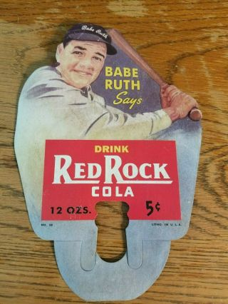 Vintage Rare 1930s Babe Ruth Red Rock Cola Bottle Display Sign Baseball Old Soda