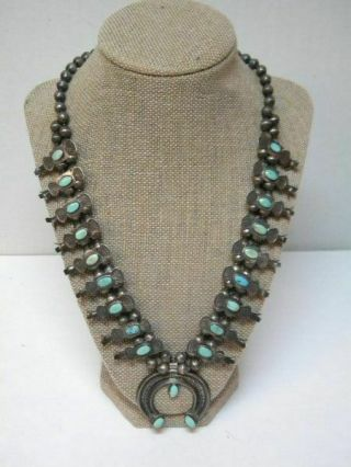 Vtg.  Native American Shadow Box Blossom Squash Silver/turquoise Necklace