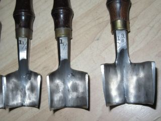 5 VTG rosewood C S Osborne Leather tools Strap end punches cutters Large 4