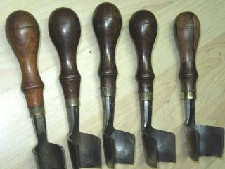 5 VTG rosewood C S Osborne Leather tools Strap end punches cutters Large 5