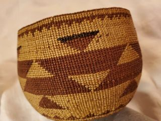 Antique Native American Hupa Or Yurak Indian Early Basket Lovely Pattern