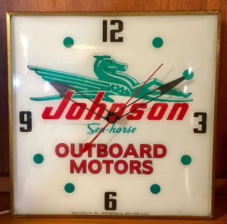 Vtg Johnson Sea - Horse Outboard Motors Advertising Wall Clock Pam Co.  1960
