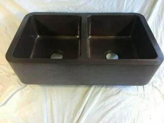 Copper Farmhouse Double Bowl Sink 36 In Dark Antique (minor Imperfections)