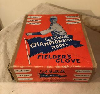 Vintage Carl Hubbell Baseball Glove And Box