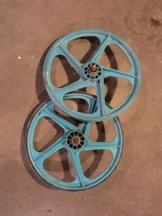Vintage Peregrine Master Mag Wheels Old School Bmx Turquoise