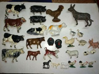 Group Of Vintage 50s/60s Metal Train Layout Animal Figures,  Cows,  Sheep,  Pigs,  Ducks