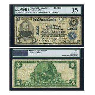 1902 $5 National Bank Clarksdale Mississippi Ch 12222 Pmg 15.  Rare Rare