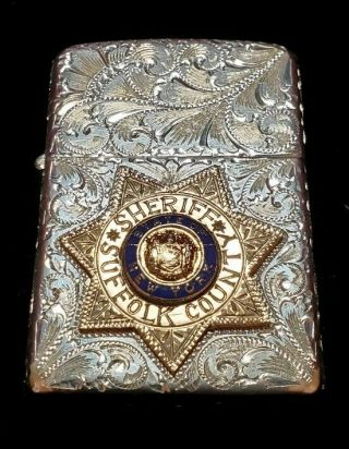 Zippo Lighter Vintage Engraved Sterling/gold Badge York Sheriff