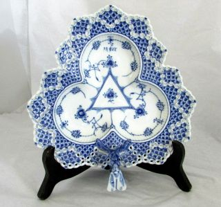 Rare Royal Copenhagen Blue Fluted Full Lace Serving Dish 1077 First Quality Test
