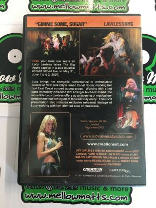 Gimme Some,  Sugar Lucy Lawless NYC DVD Xena Live Concert 2007 RARE OOP NEAR 3
