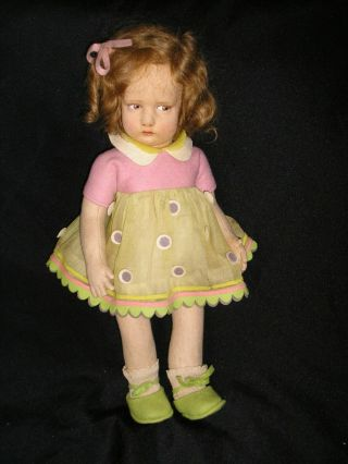Rare Early Lenci Girl In Felt And Organdy Outfit Model 300 17 Inches