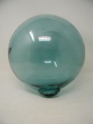 "Vintage Large 10 1/2 "" Blue Hand Blown Glass Fishing Net Float 33 "" Circumference"