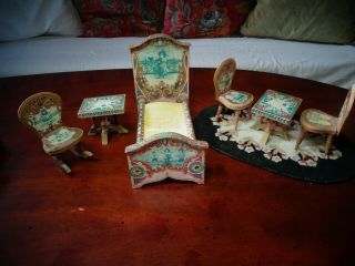 Antique Miniature Dollhouse Bedroom Set By R.  Bliss Co.  Lithographed,  1890
