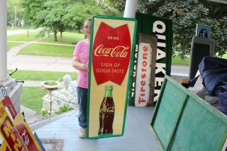 "Large Vintage 1960 Coca Cola Fishtail Soda Pop Gas Station 54 "" Metal Sign"