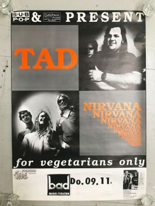 "Very Rare Nirvana & Tad Poster.  Germany 1989 Large 22 "" X 30 "" Cobain"