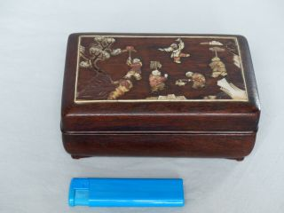 A Chinese Hardwood Inlaid Rectangular Box And Cover Qing Period Mother Of Pearl