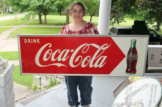 "Large Vintage 1948 Coca Cola Soda Pop Bottle Gas Station 54 "" Metal Sign"
