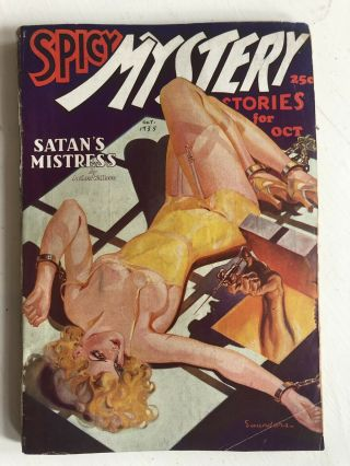 Spicy Mystery October 1935 Rare Drugs Bondage Devil Cover Scarce Title